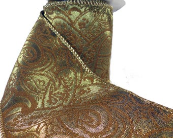 """Shiny Bronze Paisley Wired Ribbon  4"""" Wide"""