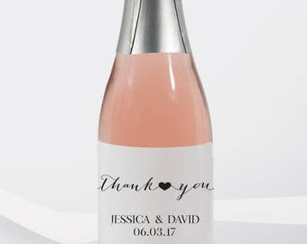 Mini Wine Labels Wedding Favors-Thank you