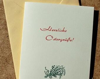 Klappkarte »Herzliche Ostergrüße«, Buchdruck, Bleisatz auf Munken pure mit Kuvert