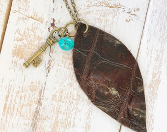 Long Necklace with Turquoise Bead and Key