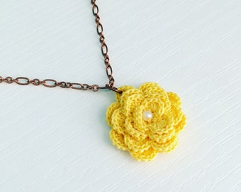 Hyde Park Crochet Necklace in Yellow, 2nd Anniversary, Crochet Flower, Flower Pendant, Mother's Day Gift, Gift Under 30, Garden Party