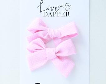 Pink Hair Bows, Hair Accessories,  Pig Tail Bows, Pigtail Bows, Bows, Hair Bows, Mini Bows, Hair Barrettes, Hair Clips, Birthday, light pink