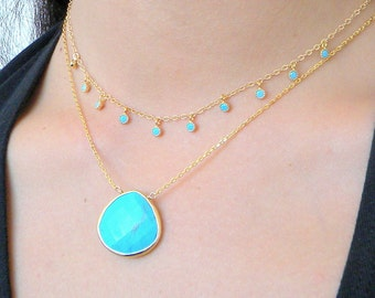 Gold Turquoise Layering Necklace, Gold Framed Turquoise Necklace, Teardrop Turquoise Necklace, Turquoise Pendant, Boho Necklace