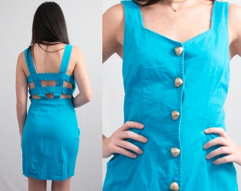 Vintage 1980s Cerulean Blue Turquoise Wiggle Bandage Dress * Backless Cage Byer Too * Size Medium * FREE SHIPPING