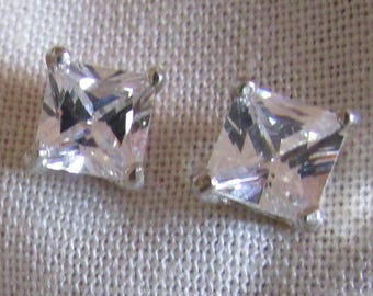 Sterling Silver and Rectangular Faceted Crystal Stud Earrings