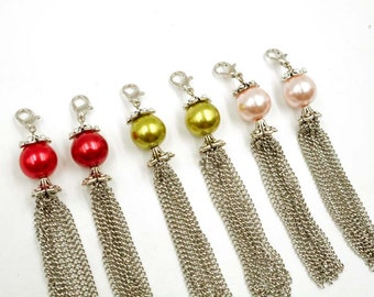 6 Assorted Antique Silver Metal Tassels With Glass Pearl Bead Charms - 22-35-20