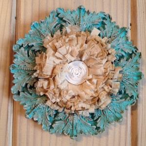 Small space fiber art-handcrafted linen flower
