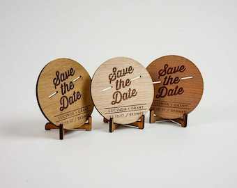 Wooden Wedding / Engagement Save the Date - Retro