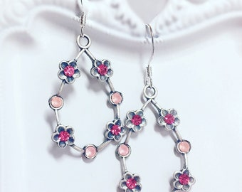 Pink Hoop Earrings - Silver Hoops - Flower Hoop Earrings - Voctorian Hoops - ELYSIAN Pink