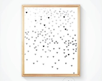 Heart wall print, black heart romantic prints, heart art, heart wall art, gray wall print, minimal print, romantic heart decor Heart picture