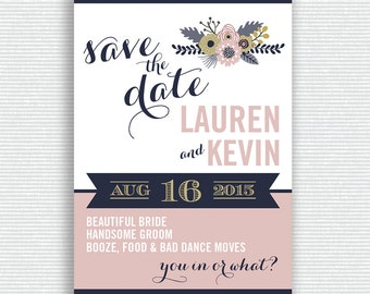 Blush Pink and Navy Blue Wedding Save the Date