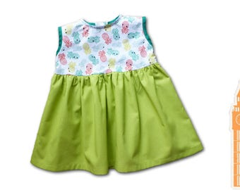 Baby girl clothing / lime green princess dress / 9 months birthday gift