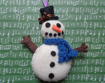 Handmade Snowman With Blue Scarf Christmas Ornament by Pepperland