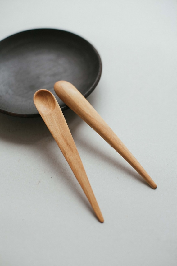 Wooden Spoon Makers ~ Hand carved wooden small spoon japanese serving