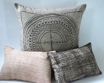 Barkcloth Collection // Decorative Throw Pillow Covers 12x18 // Pink and Brown Pillow Covers with a Shimmer