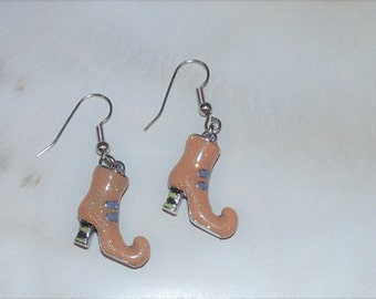 Handcrafted Novelty Cute Light Orange Halloween WITCH Shoes Dangle Pierced Earrings
