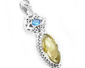 Lemon Quartz and Blue Quartz Sterling Silver Pendant
