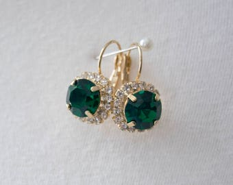 18th Century Reproduction Emerald Rhinestone Cluster Earrings. Green, gold. Rococo, Colonial, Georgian, Regency, 19th Century, Historical.
