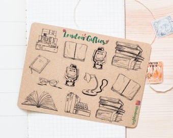 Old school book lover - decorative vintage look kraft doodle planner stickers suitable for any planner -456-