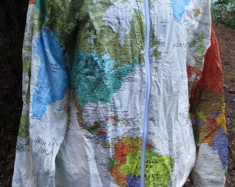 Kurt cobain jacket etsy world map jacket similar to kurt cobain wearin the world dupont tyvek windbreaker size gumiabroncs Images