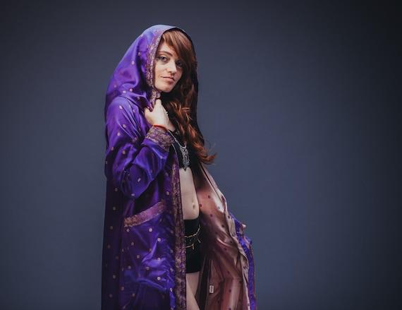 Satin Kimono Purple Unisex Jacket Blue Y1wTxHgWqR