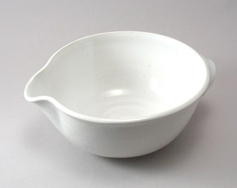 Pottery Batter Bowl-Stoneware Bowl-Tableware-Ceramic Bowl-Serving Bowl-Handmade-Classic White Glaze-Ready to Ship