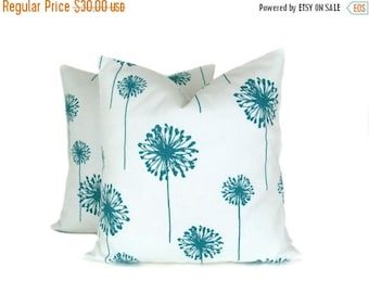 15% Off Sale Decorative Pillow Turquoise and White.16x16 inch Pillow Covers.Blue and White Pillow.Accent Pillows. Cushions.Printed fabric bo