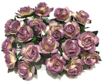 Purple And White Open Mulberry Paper Roses Or052