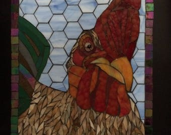 Stained Glass Mosaic Chicken Rooster