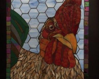 Buntglas-Mosaik Huhn-Hahn