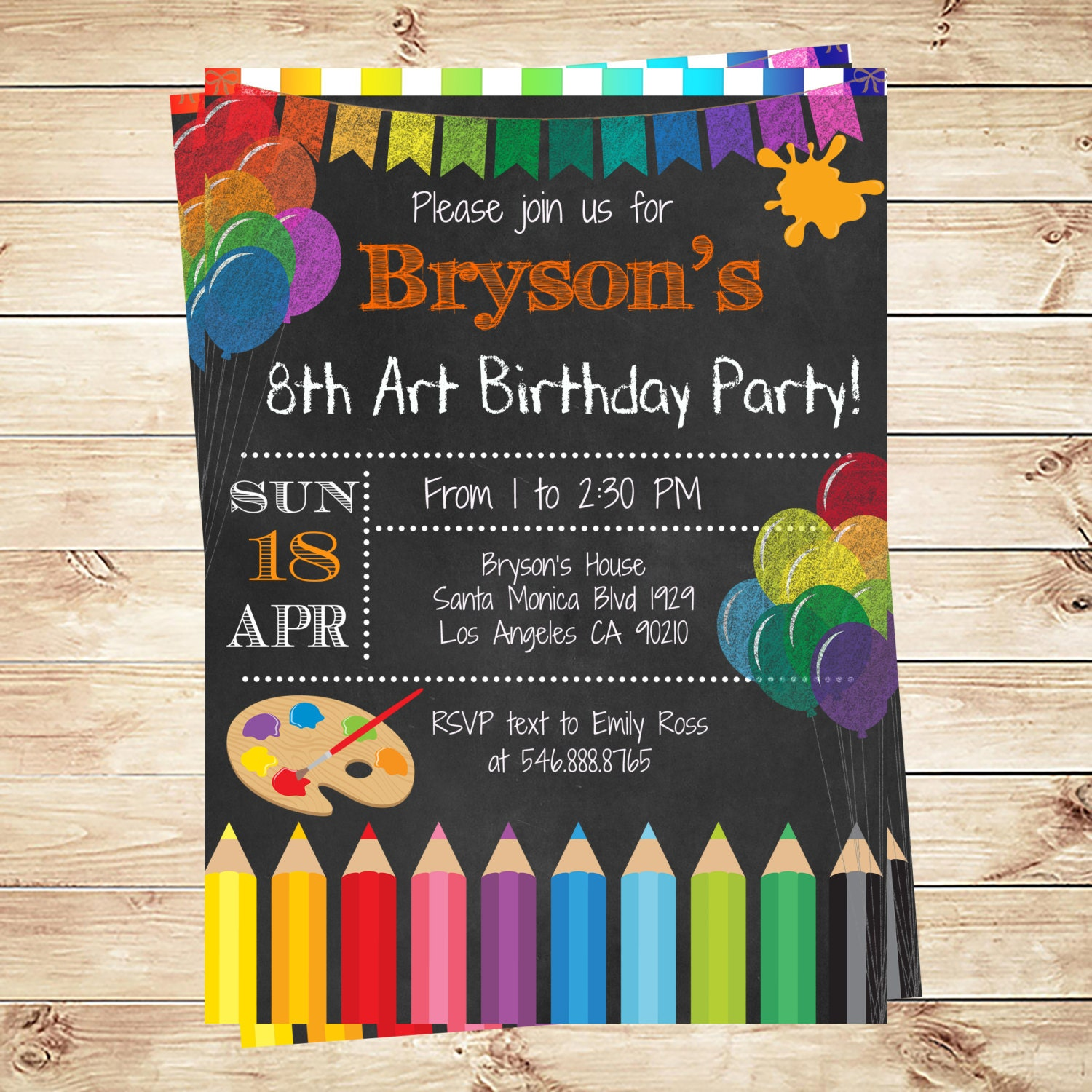 Art party invitations printables birthday party invitations zoom stopboris Gallery