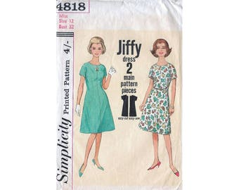 60s Simplicity sewing pattern 4818, one piece dress sewing pattern, bust 32 inches