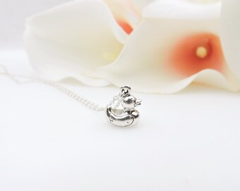 FREE US Ship Tiny Solid Sterling Silver Rubber Duck Necklace Minimalist Ducky Necklace Dainty Sterling Rubber Ducky Layering Necklace