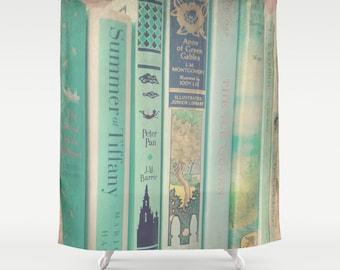 Mint Books Shower Curtain: Home decor, green, books, library, librarian, bathroom