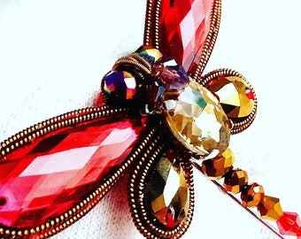 """Handmade brooch made of crystals """"Dragonfly""""."""