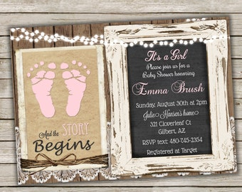 Rustic Baby Girl Shower Invitation in Pink with Footprints, Wood and Lace Shower, Baby Feet, Chalkboard