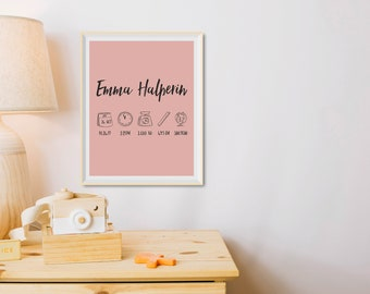 Personalized Baby Birth Announcement Poster - a Custom, Minimalist, Modern, Typography Wall Art by Tache Studio