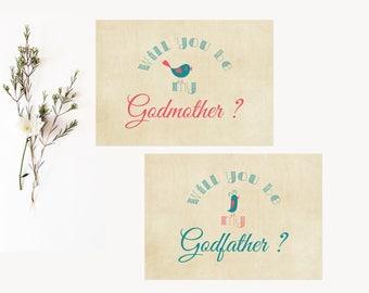 2 cards Godmother / Godfather Vintage Birds