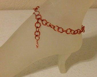 Natural Copper Ankle Bracelet Handmade Copper Anklet 10 Inches Long With Your Choice of Clasp ON SALE