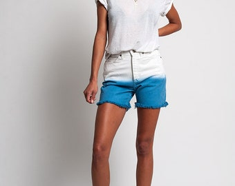 Lee Vintage Dip Dyed Gradated White and Blue Denim Shorts Size 24