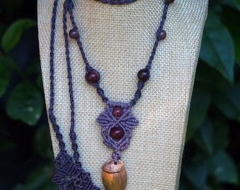 Acorn in Rose Bronze with Mookaite Beads
