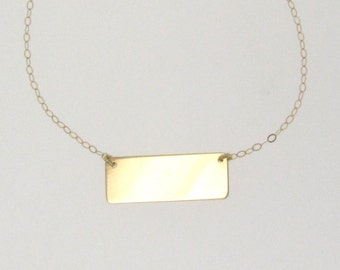 Gold Bar Nameplate Necklace, 14k Yellow, White or Rose Gold - Name Plate Can Be Engraved