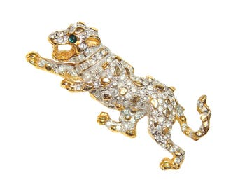 Kenneth Lane Brooch, Rhinestone Leopard, Rare, Collectible, Signed, Vintage 1960s K.J.L.