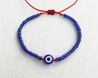 Blue evil eye glass beads, Red string bracelet, Kabbalah, Red, All seeing, Devil protection, Greek, Good luck, Lucky, Seed bead bracelet