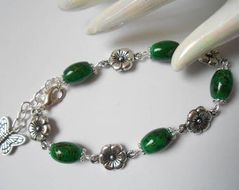 Green beads and Silver Flower bracelet.