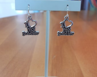 Dangle Earrings I love my Soldier