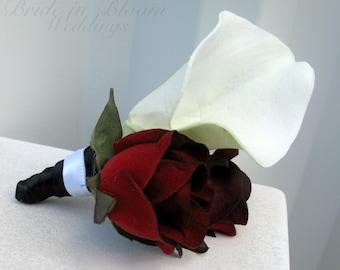 Wedding boutonniere - White calla lily black bacarra red rose - Grooms boutonniere - Prom boutonniere