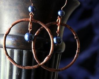 Antiqued Copper Earrings, Boho Hoop Earrings Copper Blue Patina Copper Earrings Bohemian Earrings Handmade Boho Jewelry Wife Gift Mom Gifts