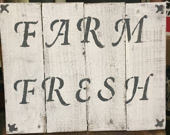 Farm fresh sign, rustic sign, wooden sign