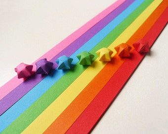 Origami Lucky Star Paper Strips Rainbow Multicolor DIY - Pack of 100 Strips